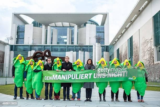 Harald Ebner Simone Peter Party coleader of the German Greens Party and German Greens Party cofaction leader Katrin GoeringEckardt deliver a...