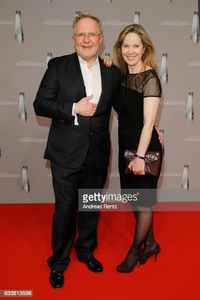 Harald Krassnitzer and AnnKathrin Kramer arrive for the German Television Award at Rheinterrasse on February 2 2017 in Duesseldorf Germany