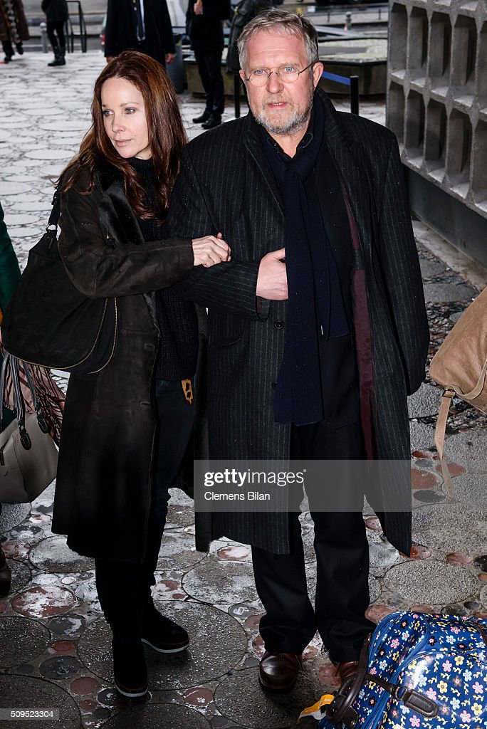 Harald Krassnitzer (R) and Ann-Kathrin Kramer attend the Wolfgang Rademann memorial service on February 11, 2016 in Berlin, Germany.