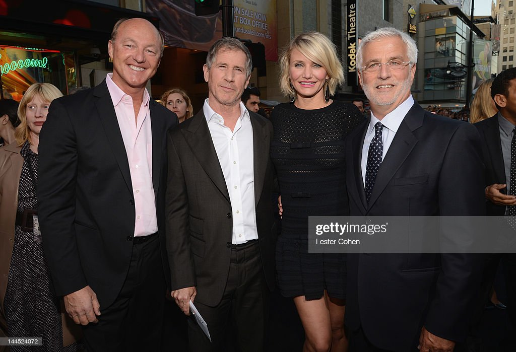 Harald Ludwig, Lionsgate Co-Chairman and Chief Executive Officer Jon Feltheimer, actress <a gi-track='captionPersonalityLinkClicked' href=/galleries/search?phrase=Cameron+Diaz&family=editorial&specificpeople=201892 ng-click='$event.stopPropagation()'>Cameron Diaz</a> and Co-Chairman of Lionsgate <a gi-track='captionPersonalityLinkClicked' href=/galleries/search?phrase=Rob+Friedman&family=editorial&specificpeople=234962 ng-click='$event.stopPropagation()'>Rob Friedman</a> arrive at the Los Angeles premiere of 'What To Expect When You're Expecting' at Grauman's Chinese Theatre on May 14, 2012 in Hollywood, California.