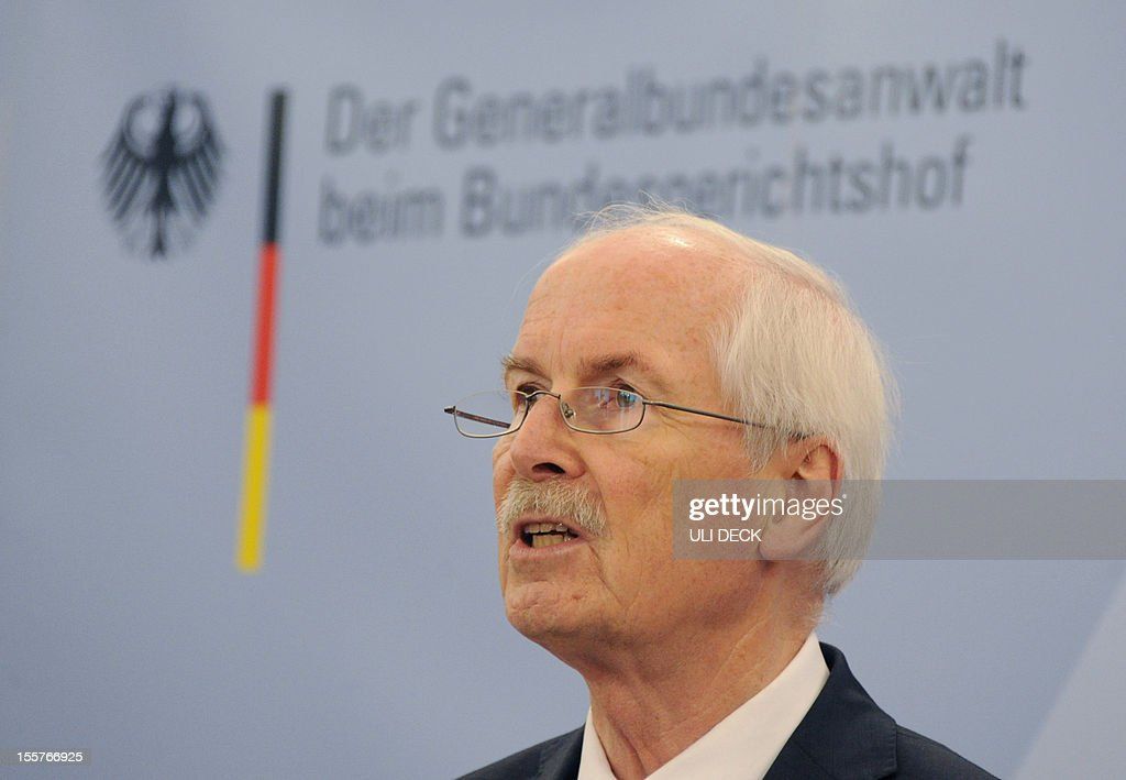Harald Range,Federal Public Prosecutor General at Germany's Federal Court of Justice, addresses a press conference in Karlsruhe, southern Germany, on November 8, 2012.German federal prosecutors brought charges against Beate Zschaepe who is believed to be at the heart of a neo-Nazi cell accused of a seven-year murder spree with 10 victims.