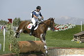 Harald Riedl of Austria and horse Foxy XX find their way through another obstacle in the team three day eventing cross country competition on August...