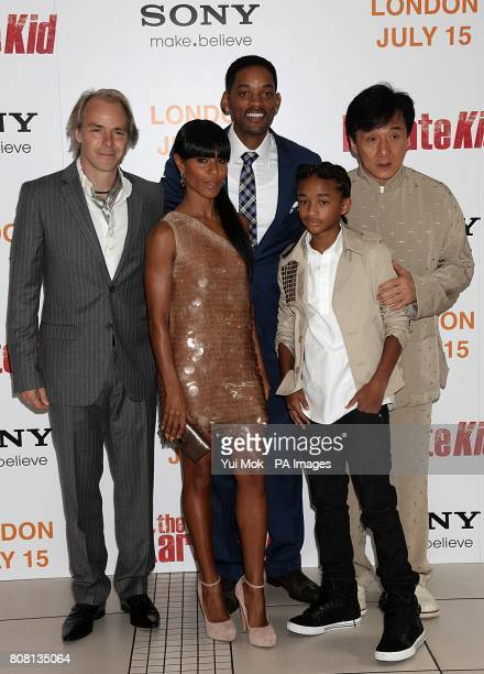 Harald Zwart Jada PinkettSmith Will Smith Jaden Smith and Jackie Chan arriving for the UK Gala Premiere of The Karate Kid at the Odeon West End...