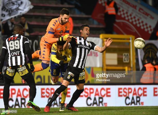 Harbaoui of Charleroi and Lucas Pirard of STVV pictured during Jupiler Pro League match between RCS Charleroi and K SintTruidense VV on februari 25...