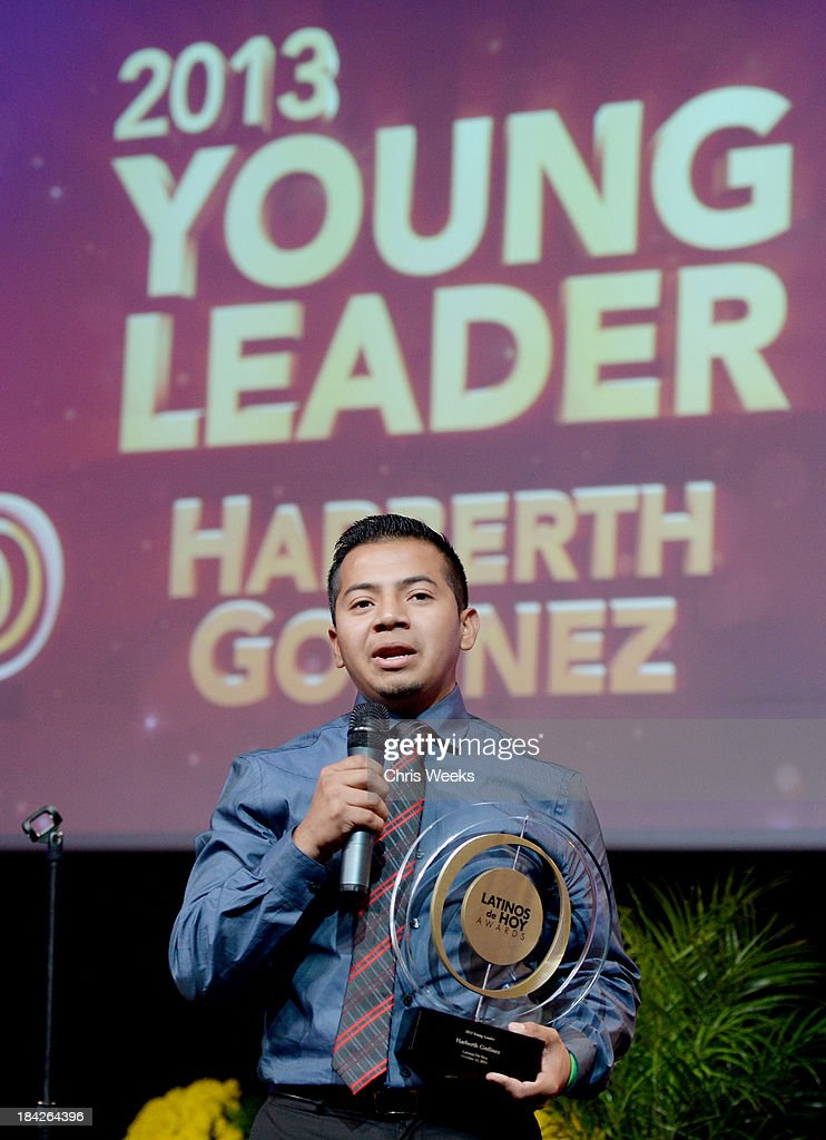 Harberth Godinez accepts the 2013 Young Leader award onstage at the '2013 Latinos de Hoy Awards' Sponsored by OneLegacy on Saturday, October 12 at Los Angeles Times Chandler Auditorium in Los Angeles, California.