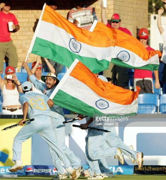 Harbhajan Singh of India and his team mates celebrate their victory during the final match of the ICC Twenty20 World Cup between Pakistan and India...