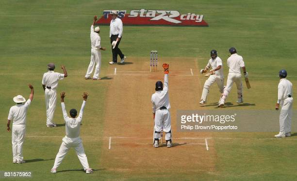 Harbhajan Singh of India appeals for the wicket of England batsman James Anderson Anderson and Monty Panesar almost collide during the 3rd Test match...