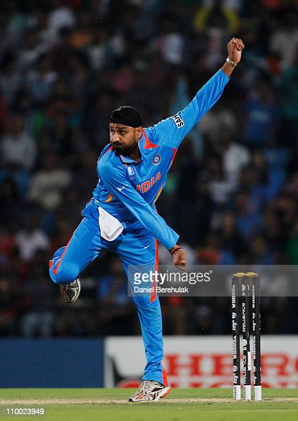 Harbhajan Singh of India bowls during the Group B ICC World Cup Cricket match between India and South Africa at Vidarbha Cricket Association Ground...
