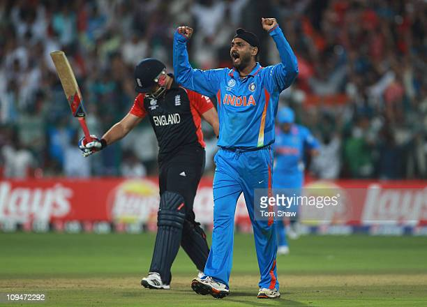 Harbhajan Singh of India celebrates taking the wicket of Matt Prior of England during the 2011 ICC World Cup Group B match between India and England...
