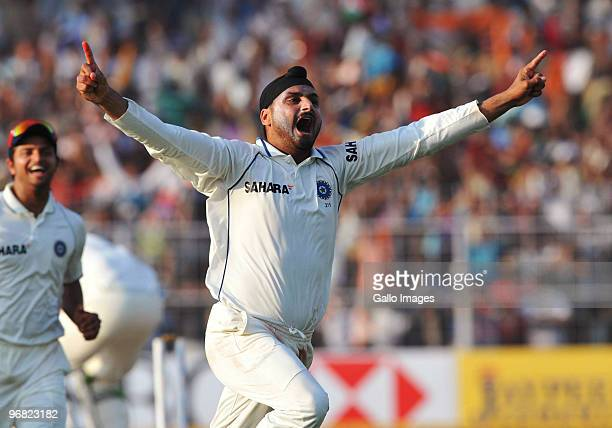 Harbhajan Singh of India celebrates winning the match with 10 balls remaining during day five of the Second Test match between India and South Africa...