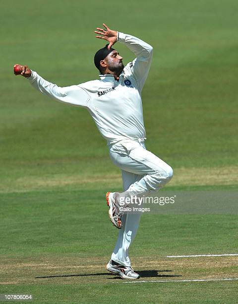 Harbhajan Singh of India in action during day 4 of the 2nd Test match between South Africa and India at Sahara Stadium Kingsmead on December 29 2010...