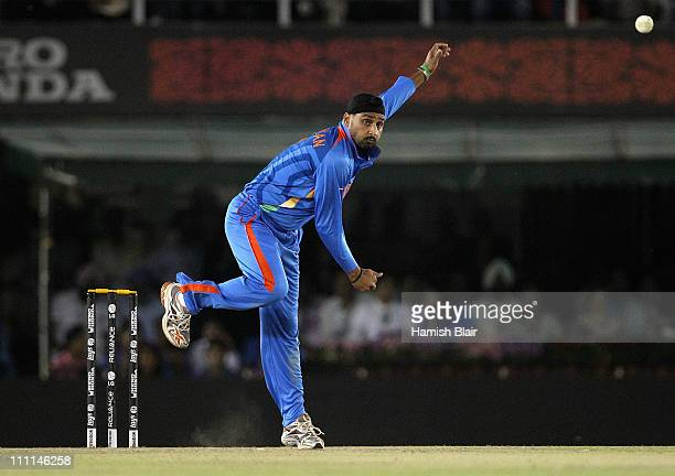 Harbhajan Singh of India in action during the 2011 ICC World Cup second SemiFinal between Pakistan and India at Punjab Cricket Association Stadium on...