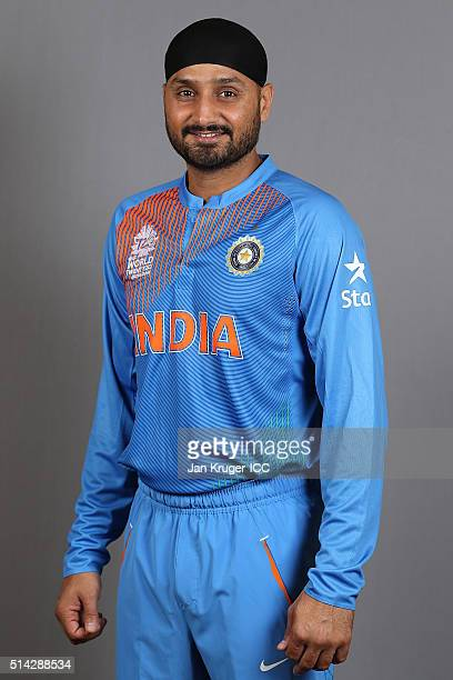 Harbhajan Singh poses during the India Headshots session ahead of the ICC Twenty20 World Cup on March 8 2016 in Kolkata India