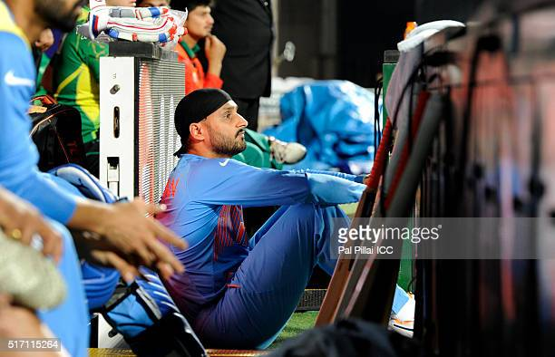 Harbhajan Singh watches the game during the ICC World Twenty20 India 2016 match between India and Bangladesh at the Chinnaswamy stadium on March 23...