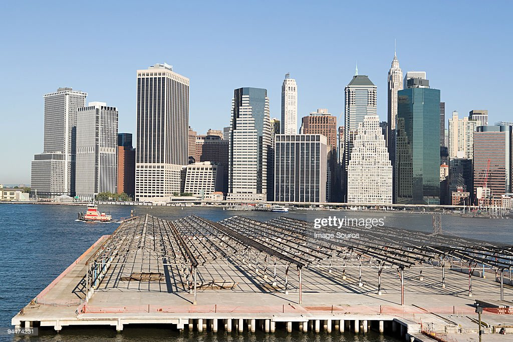 Harbor and view of lower manhattan : Stock Photo
