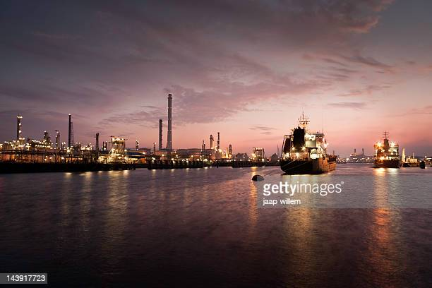 harbor at oil refinery