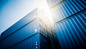 containers in the sun,blue toned images.