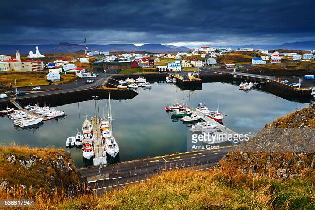 Harbor in Stykkisholmur, Iceland, on stormy day