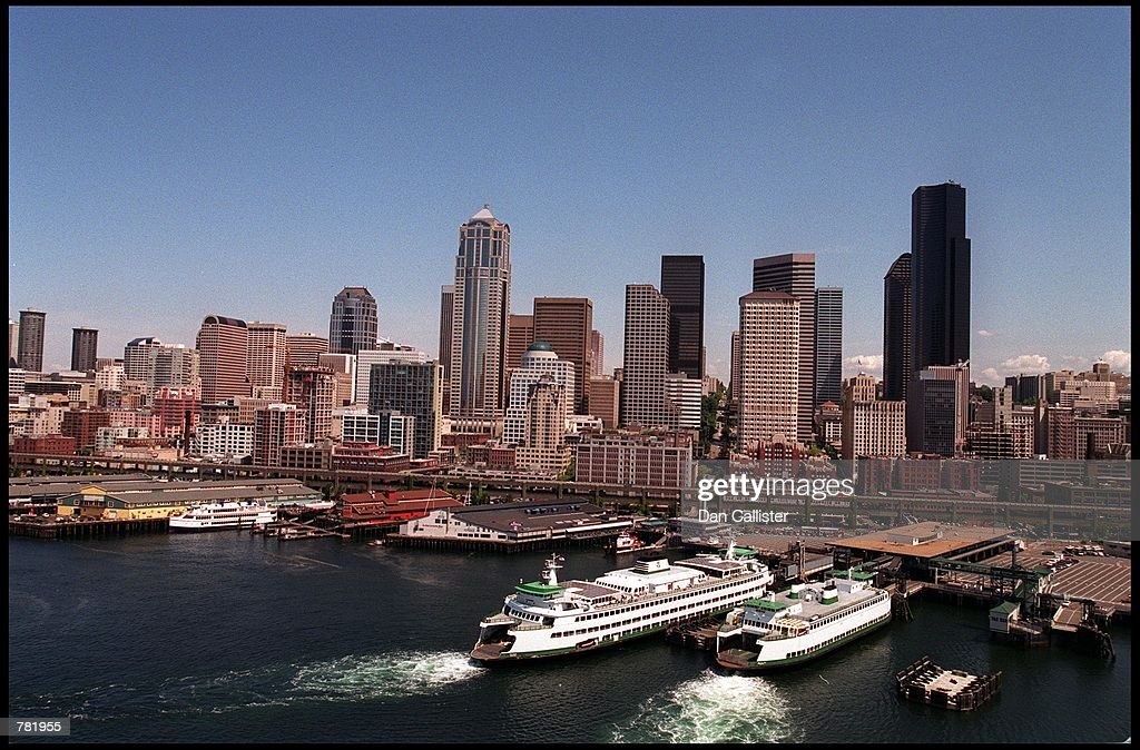 A harbor lines the Seattle skyline May 30 2000 in Seattle WA