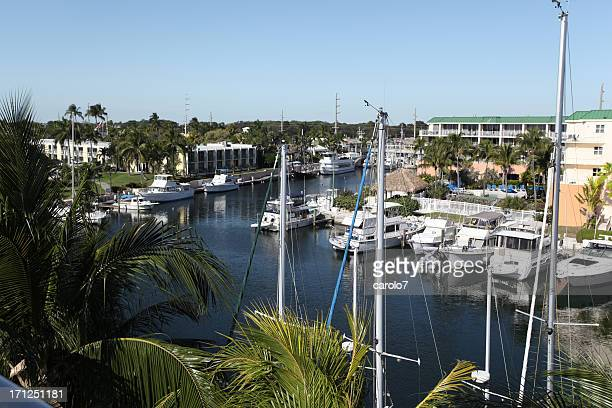 Harbor marina on Key Largo, Florida.  Yachts.  Copy space.  Horizontal.