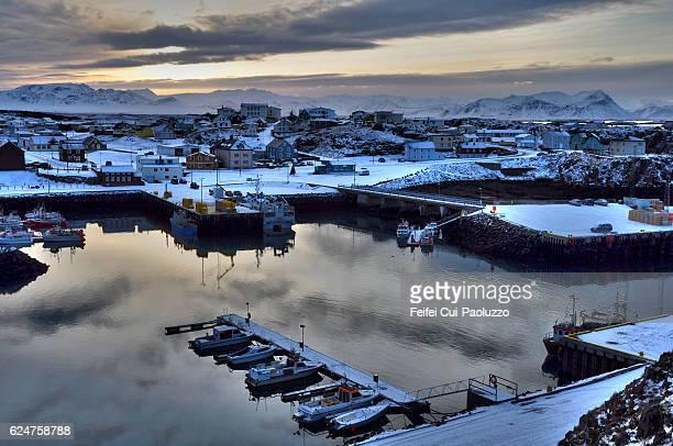 Harbor of Stykkisholmur in western region of Iceland