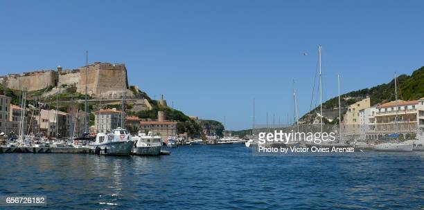 Harbour and castle of Bonifacio in Corsica, France