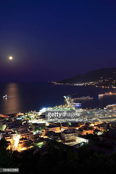 harbour and Zakynthos town at night,