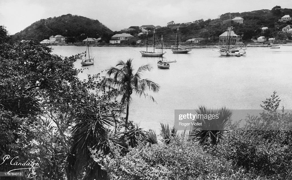 A harbour in Gustavia capital of the Caribbean island of Saint Barthelemy in the Lesser Antilles circa 1950 Saint Barthelemy is a French overseas...