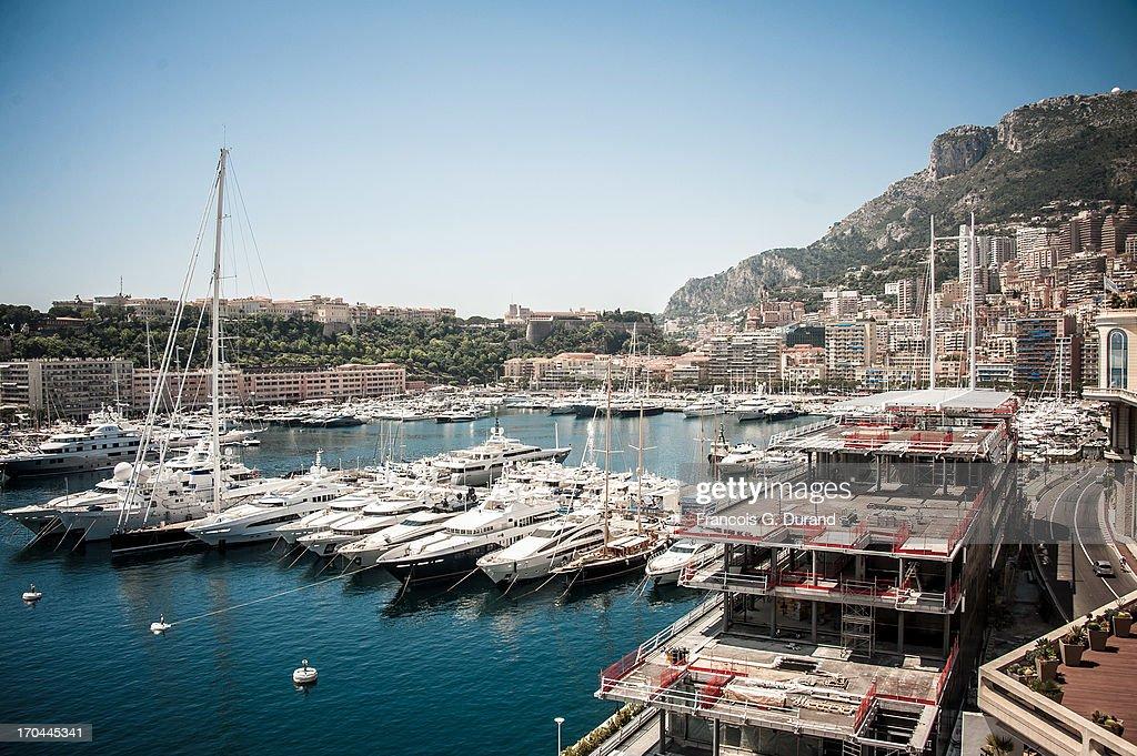 Harbour of Fontvieille in Monaco on June 13, 2013 in Monaco, Monaco.