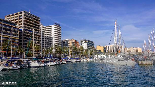Harbour of Palma de Mallorca at Passeig Maritim, Avinguda de Gabriel Roca, Majorca, Balearic Islands, Spain