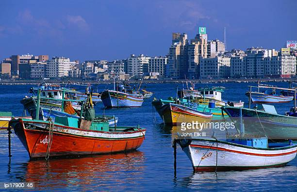 Harbour view with fishing boats, Low angle view, Alexandria, Egypt