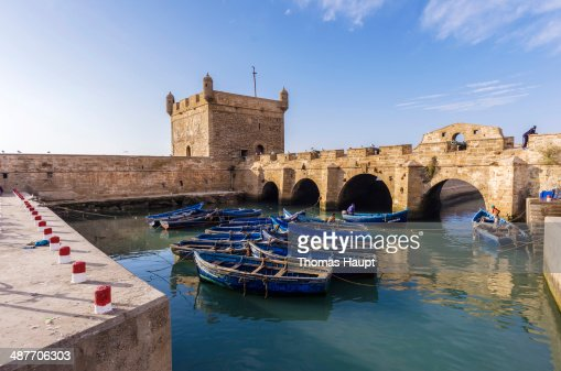 Harbour with fishing boats, ramparts, Essaouira, Marrakech-Tensift-El Haouz, Morocco