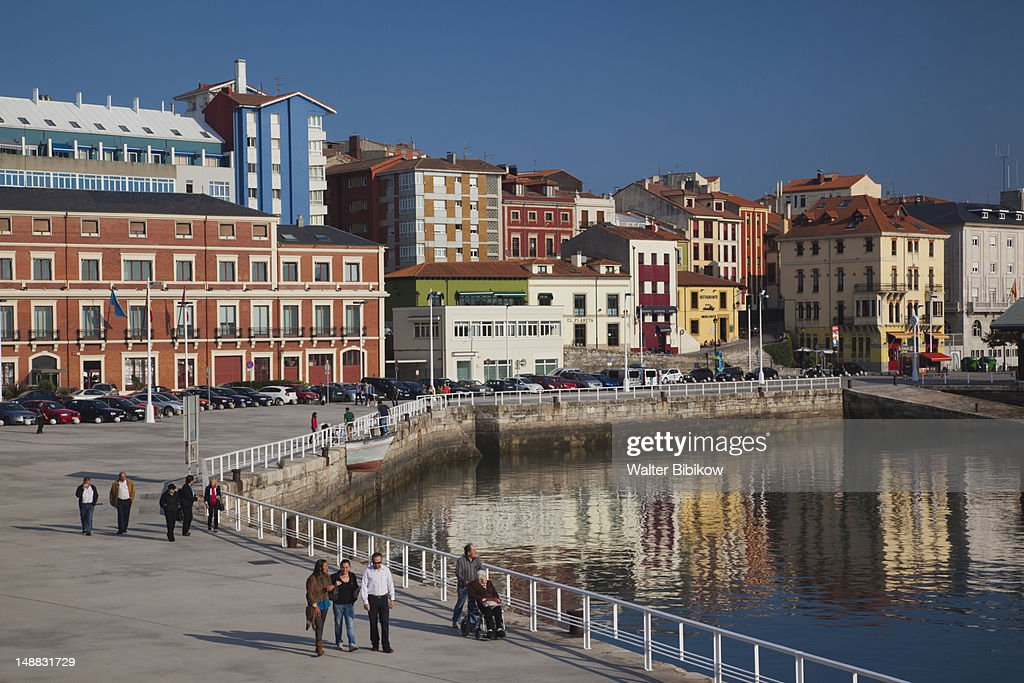 Harbourfront buildings along the Puerto Deportivo. : Stock Photo