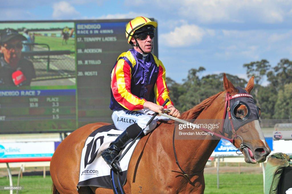 Hard Empire ridden by John Allen returns to the mounting yard after winning the Adroit Insurance BM70 Handicap at Bendigo Racecourse on December 06, 2017 in Bendigo, Australia.