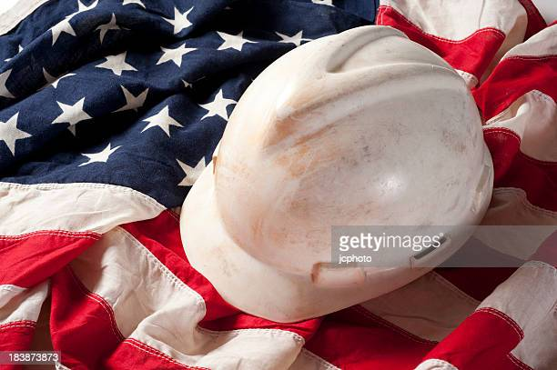 Hard Hat on US Flag