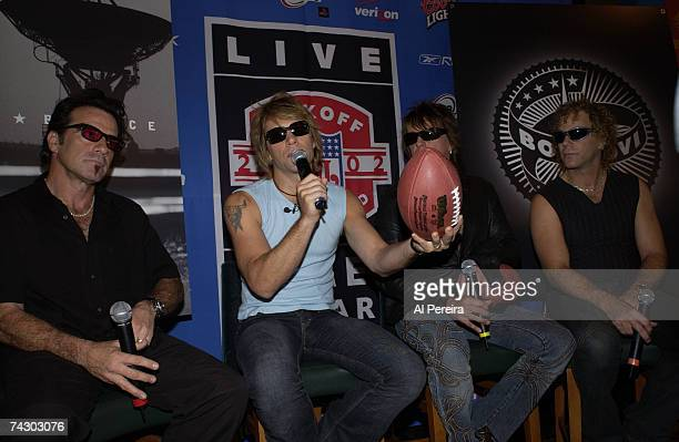 Hard rock group 'Bon Jovi' hold a press conference during NFL Kickoff Weekend at the Marriot Marquis hotel in Times Square on September 5 2002 in New...