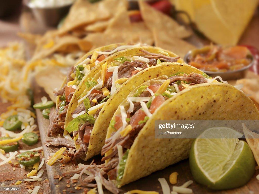 Hard Shredded Beef Tacos : Stock Photo