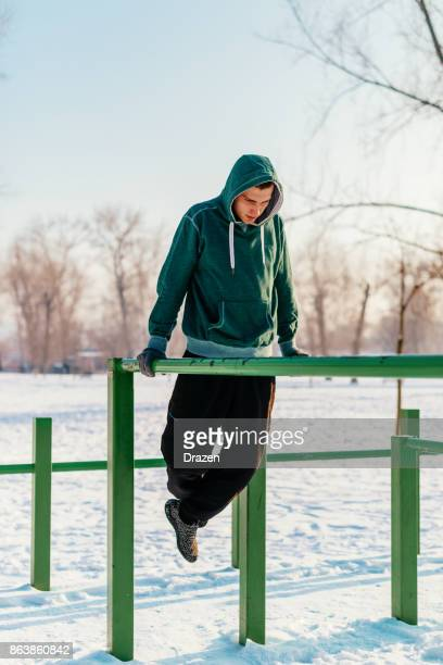 Hard workout outdoors on cold winter day