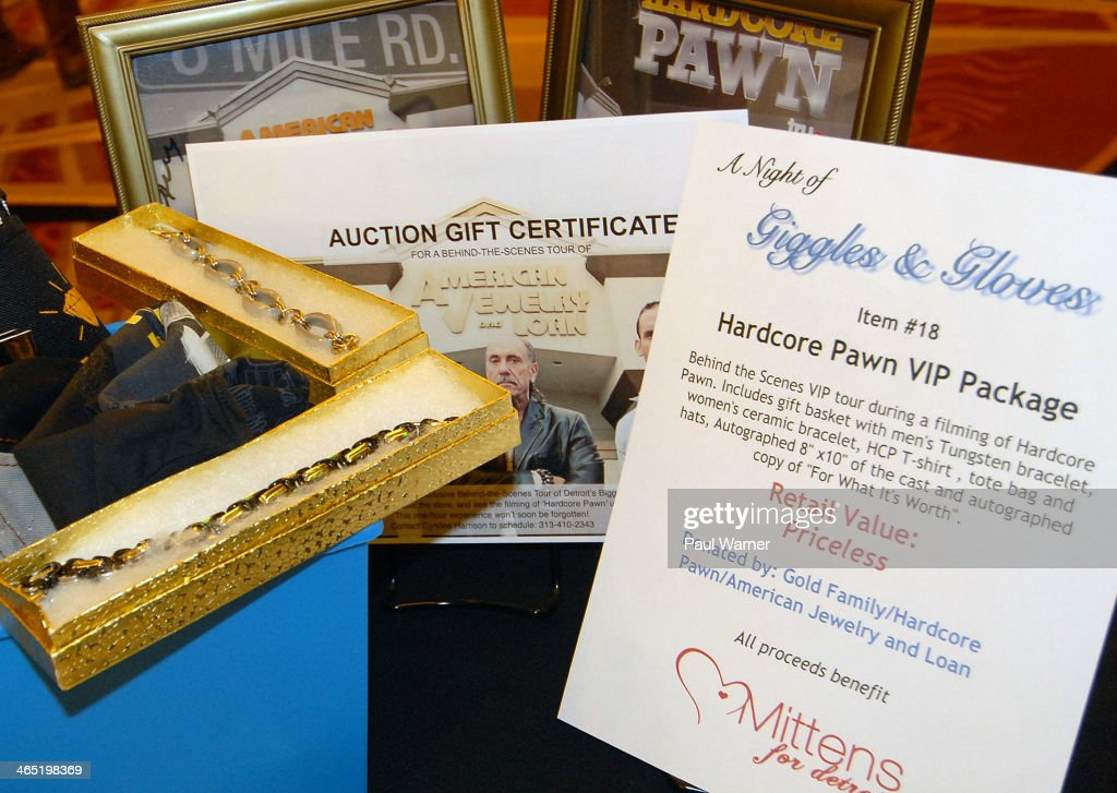 A Hardcore Pawn VIP tour package is seen during a silent auction at Mittens for Detroit's 4th annual night of Giggles and Gloves> at MGM Grand Hotel on January 25, 2014 in Detroit, Michigan.
