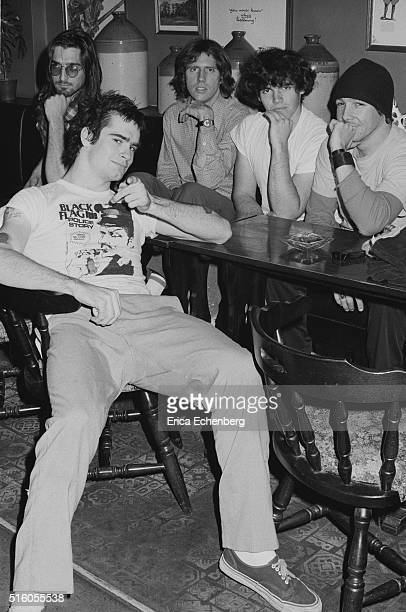 Hardcore punk band Black Flag group portrait at the Oporto pub Holborn London United Kingdom 1983 LR Dez Cadena Henry Rollins Greg Ginn Bill...