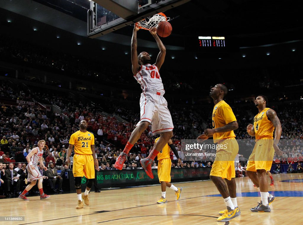 A.J. Hardeman #0 of the New Mexico Lobos dunks the ball in the first half while taking on Long Beach State 49ers in the second round of the 2012 NCAA men's basketball tournament at Rose Garden Arena on March 15, 2012 in Portland, Oregon.