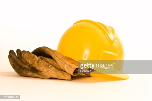 Hardhat and work gloves