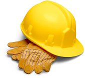 Yellow Safety Helmet and Safety Gloves