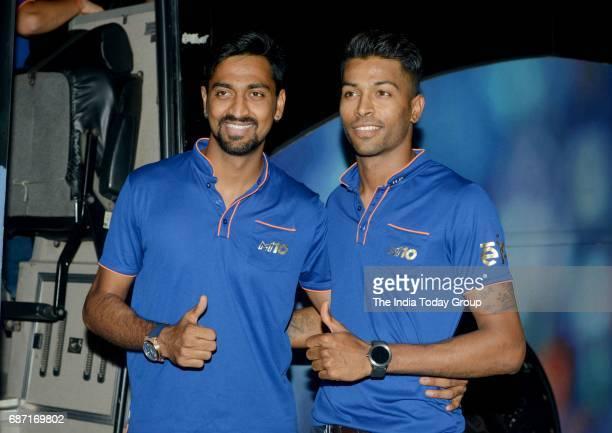 Hardik Pandya and Krunal Pandya during the party organised to celebrate Mumbai Indians victory in the Indian Premier League 2017 in Mumbai