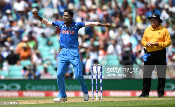 Hardik Pandya of India celebrates dismissing Fakhar Zaman of Pakistan during the ICC Champions Trophy Final between India and Pakistan at The Kia...