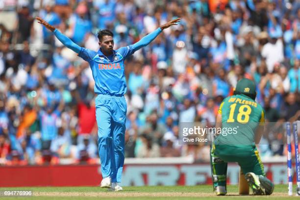Hardik Pandya of India celebrates the wicket of Faf du Plessis of South Africa during the ICC Champions trophy cricket match between India and South...