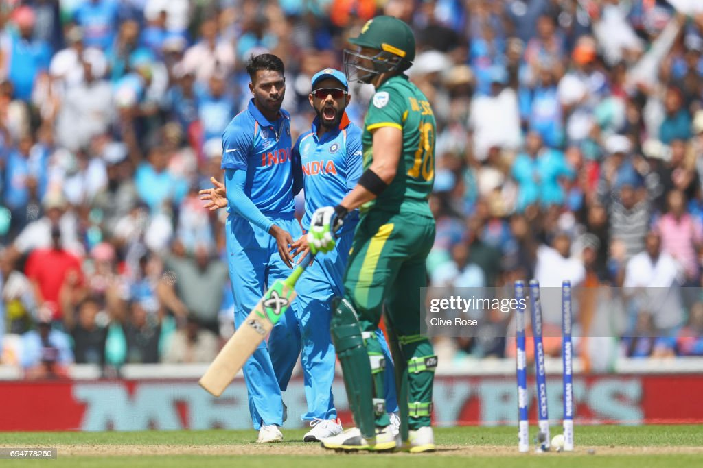 Hardik Pandya of India celebrates the wicket of Faf du Plessis of South Africa during the ICC Champions trophy cricket match between India and South Africa at The Oval in London on June 11, 2017