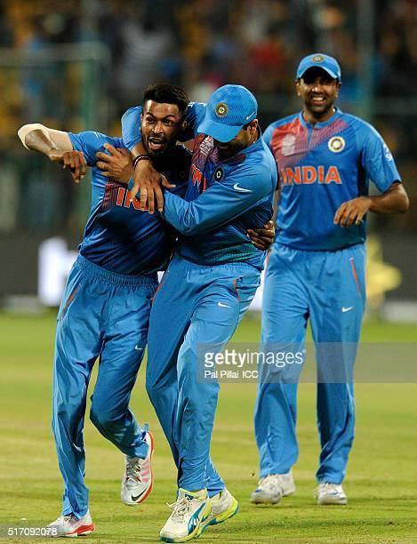 Hardik Pandya of India celebrates the win during the ICC World Twenty20 India 2016 match between India and Bangladesh at the Chinnaswamy stadium on...