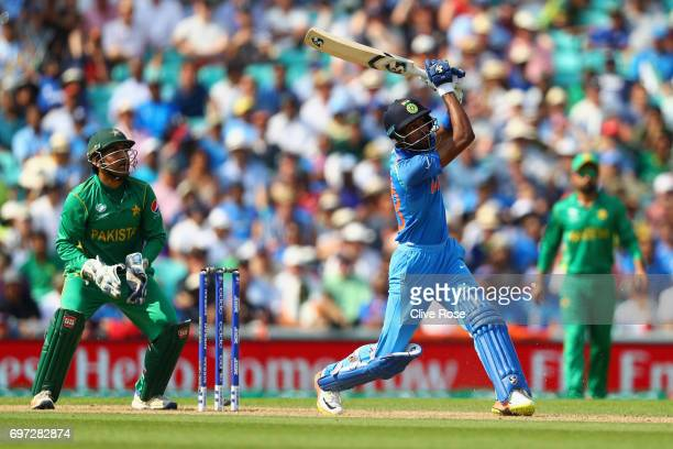 Hardik Pandya of India hits a six during the ICC Champions trophy cricket match between India and Pakistan at The Oval in London on June 18 2017