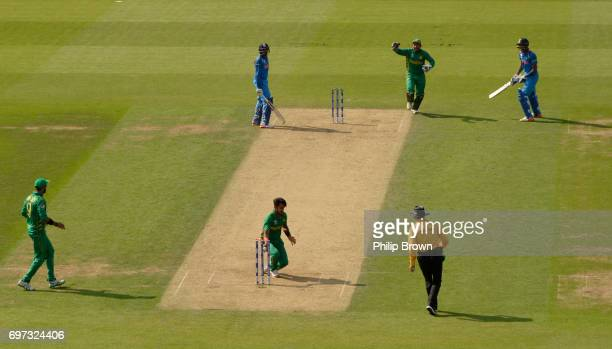 Hardik Pandya of India is run out by Hasan Ali of Pakistan during the ICC Champions Trophy final between India and Pakistan at the Kia Oval cricket...
